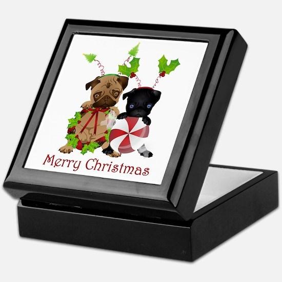 Black and Fawn Christmas Pugs Keepsake Box