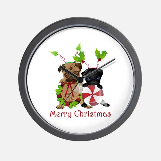 Black and Fawn Christmas Pugs Wall Clock