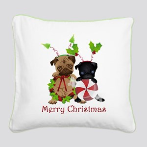 Black and Fawn Christmas Pugs Square Canvas Pillow