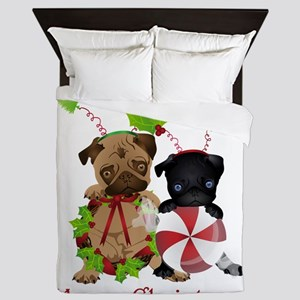Black and Fawn Christmas Pugs Queen Duvet