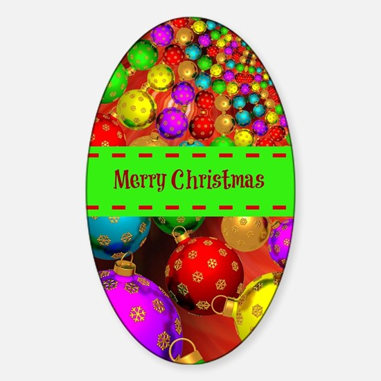 Merry Christmas, Colorful Christmas Sticker (Oval)