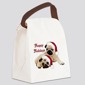 Happy Holidays 2 Pugs Canvas Lunch Bag