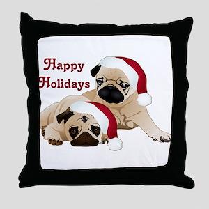 Happy Holidays 2 Pugs Throw Pillow