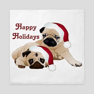 Happy Holidays 2 Pugs Queen Duvet