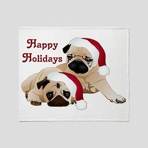 Happy Holidays 2 Pugs Throw Blanket