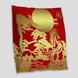 Chinese New Year, Horse Burlap Throw Pillow