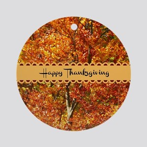 Happy Thanksgiving - Autumn Colors Round Ornament