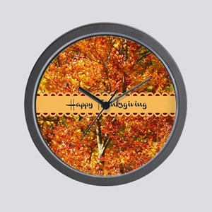 Happy Thanksgiving - Autumn Colors Wall Clock