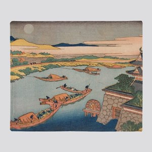 Snow Moon and Flowers by Hokusai Throw Blanket