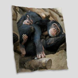 Chimpanzee006 Burlap Throw Pillow