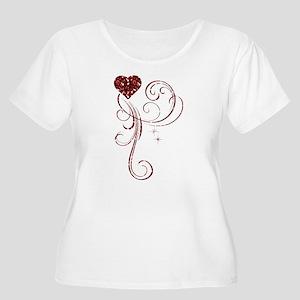 Red Glitter Heart Plus Size T-Shirt