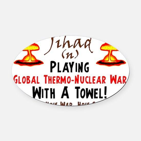 towel2 Oval Car Magnet