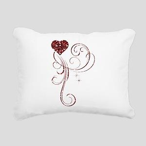 Red Glitter Heart Rectangular Canvas Pillow