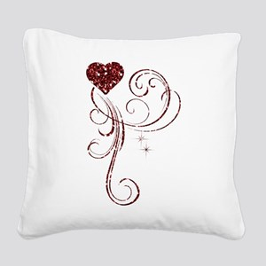 Red Glitter Heart Square Canvas Pillow