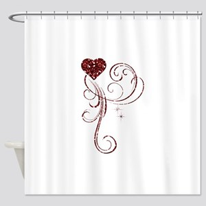 Red Glitter Heart Shower Curtain
