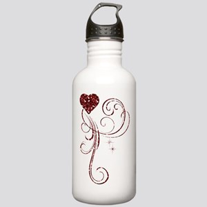 Red Glitter Heart Water Bottle