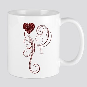 Red Glitter Heart Mugs