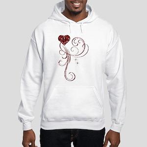 Red Glitter Heart Hoodie