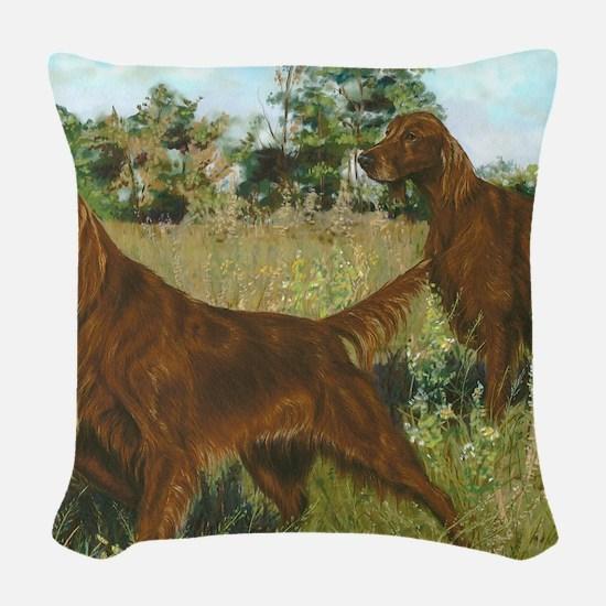 IrishSetterHunting Woven Throw Pillow