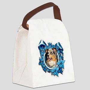 Blue_Snowflake_Australian_Shepher Canvas Lunch Bag