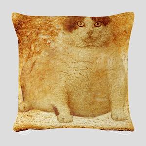 2-FatToastFront Woven Throw Pillow