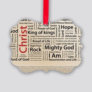 100 names of Jesus American Spell Picture Ornament
