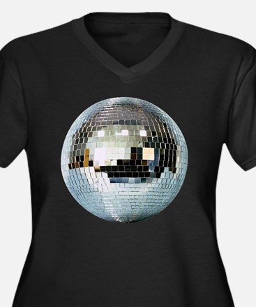 DISCO BALL2 Women's Plus Size Dark V-Neck T-Shirt