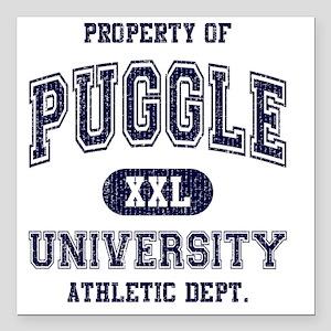 """Puggle-University Square Car Magnet 3"""" x 3"""""""