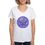 LGLG-Butterfly (purp) Women's V-Neck T-Shirt