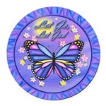 LGLG-Butterfly (purp) Round Car Magnet