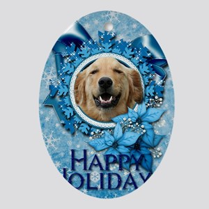 Blue_Snowflake_Golden_Retriever_Mick Oval Ornament