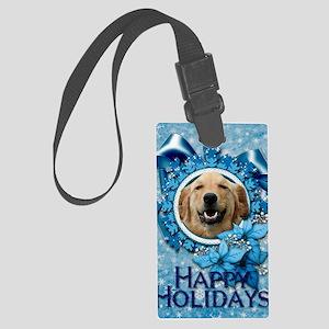 Blue_Snowflake_Golden_Retriever_ Large Luggage Tag