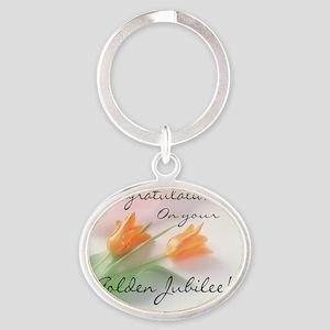 Golden Jubilee Rose Oval Keychain
