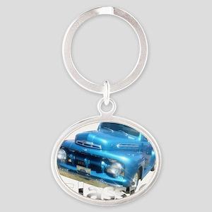 classic blue Oval Keychain
