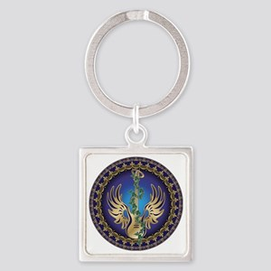 Heavenly Winged Guitar Square Keychain