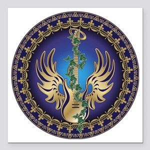 """Heavenly Winged Guitar Square Car Magnet 3"""" x 3"""""""