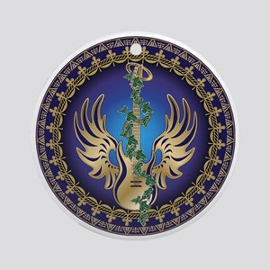 Heavenly Winged Guitar Round Ornament
