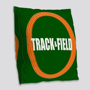 Track and Field Burlap Throw Pillow