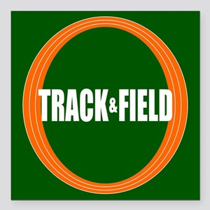 """Track and Field Square Car Magnet 3"""" x 3"""""""