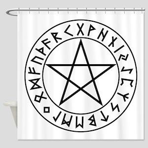 Rune Shield Pentacle Shower Curtain