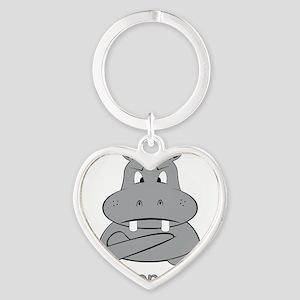 grumpopotamus Heart Keychain