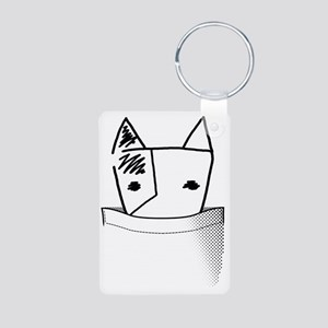Pocket BullTerrier Aluminum Photo Keychain