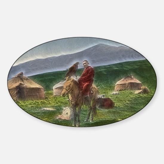 Kazakh Horseman Sticker (Oval)