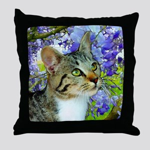 Tabby Cat with Flowers Throw Pillow