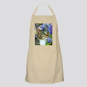 Tabby Cat with Flowers Apron