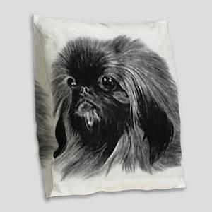 Pekingese Burlap Throw Pillow