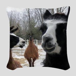 Llamas larger Woven Throw Pillow