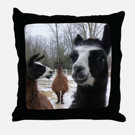 Llamas larger Throw Pillow