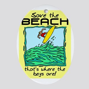 SAVE THE BEACH-BOYS Oval Ornament