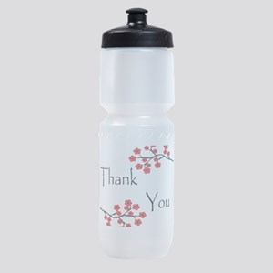 Red Cherry Blossoms Thank You Sports Bottle